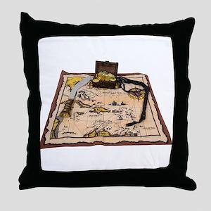 Pirate Map Treasure Throw Pillow