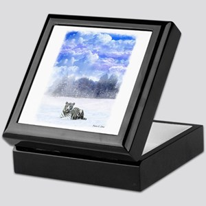 White Tiger in Snow Keepsake Box