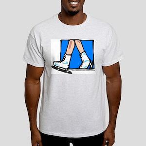 Blue Square Ice Skates Ash Grey T-Shirt