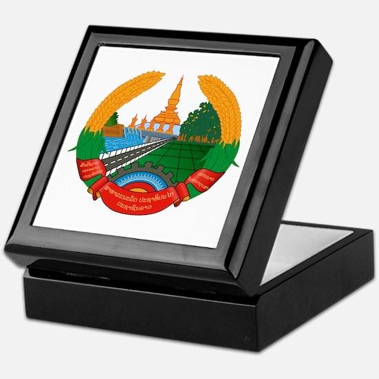Laos Coat of Arms Emblem Keepsake Box