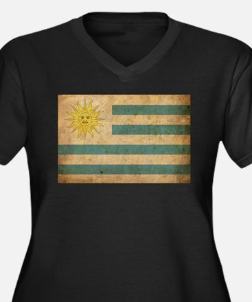 Vintage Uruguay Flag Women's Plus Size V-Neck Dark