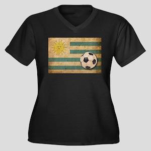 Vintage Uruguay Football Women's Plus Size V-Neck