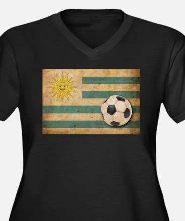 Vintage Uruguay Football Women's Plus Size V-Neck