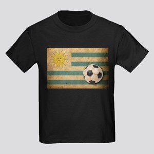 Vintage Uruguay Football Kids Dark T-Shirt