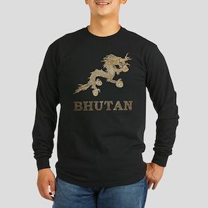 Vintage Bhutan Long Sleeve Dark T-Shirt