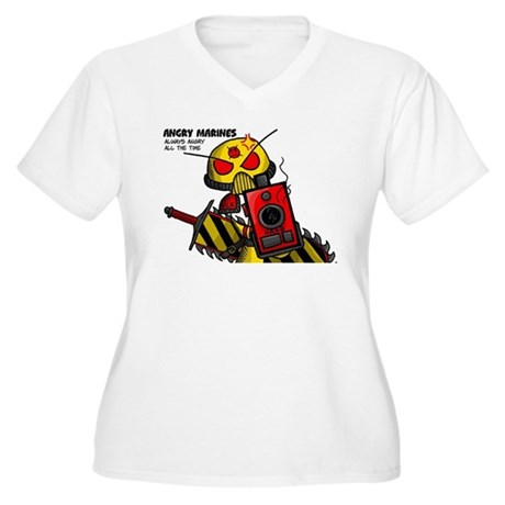 Angry Marines Women's Plus Size V-Neck T-Shirt