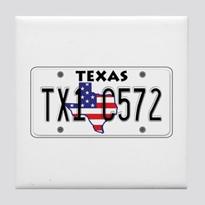 TX USA License Plate Tile Coaster