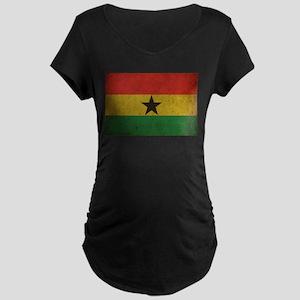 Vintage Ghana Flag Maternity Dark T-Shirt