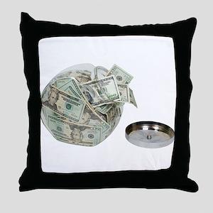 Cookie jar full of money Throw Pillow