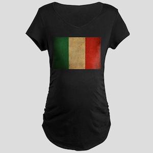 Vintage Italy Flag Maternity Dark T-Shirt
