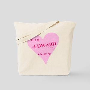 Team Edward Pink Heart Tote Bag
