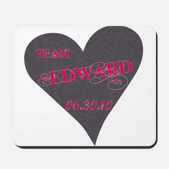 Team Edward Grey Heart Mousepad