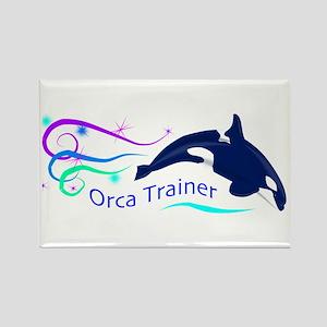 Orca Trainer Sparkle Rectangle Magnet
