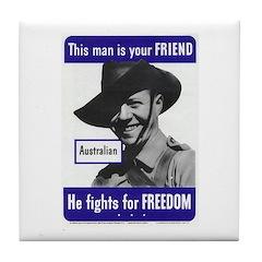 Australian Friend Vintage Poster Tile Coaster