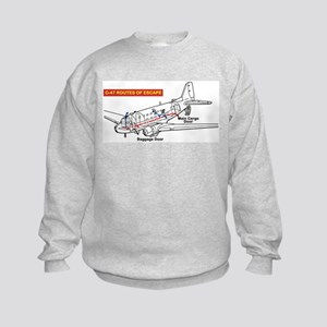 C-47 Routes of Escape Kids Sweatshirt