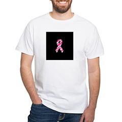 Breast Cancer Ribbon Pinstrip White T-Shirt