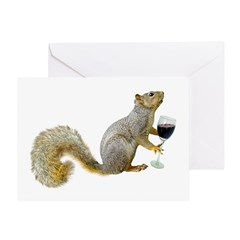 Squirrel with Wine Greeting Card