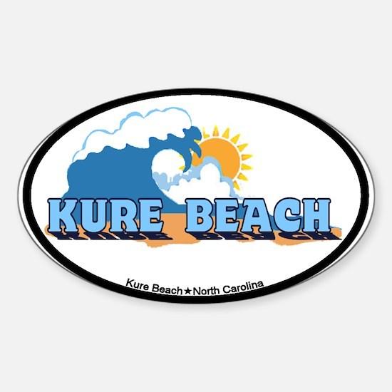 Kure Beach NC - Waves Design Sticker (Oval)