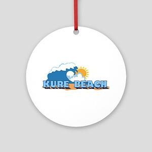 Kure Beach NC - Waves Design Ornament (Round)