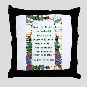 Walter Benjamin on Books Throw Pillow
