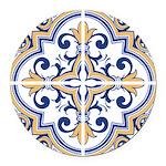Portuguese tiles 1 Round Car Magnet