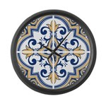 Portuguese tiles 1 Large Wall Clock
