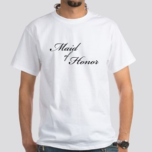 Maid of Honor (Formal Font) White T-Shirt
