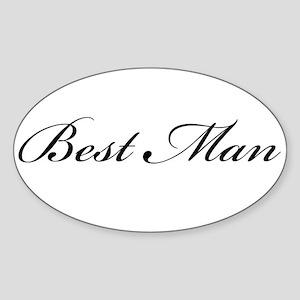 Best Man (Formal Font) Oval Sticker