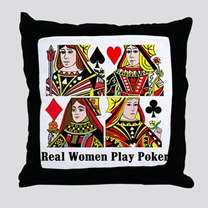 Real Women Play Poker Throw Pillow