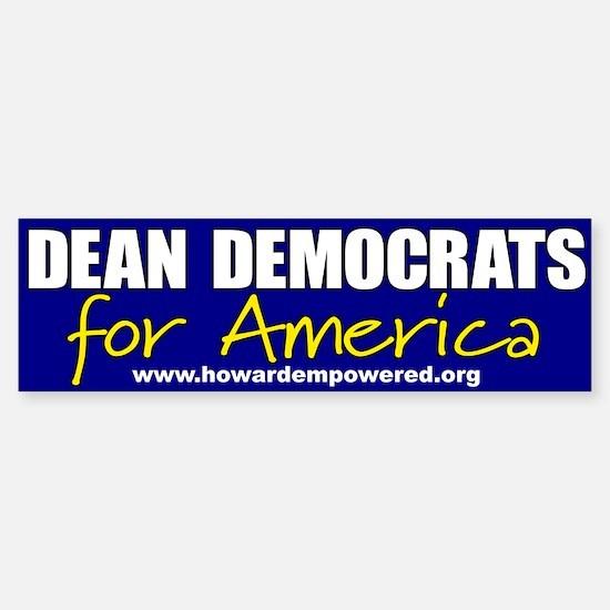 Dean Democrats Bumper Bumper Bumper Sticker