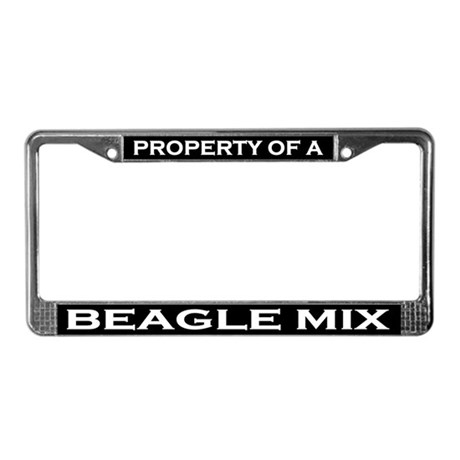 Property of Beagle Mix License Plate Frame