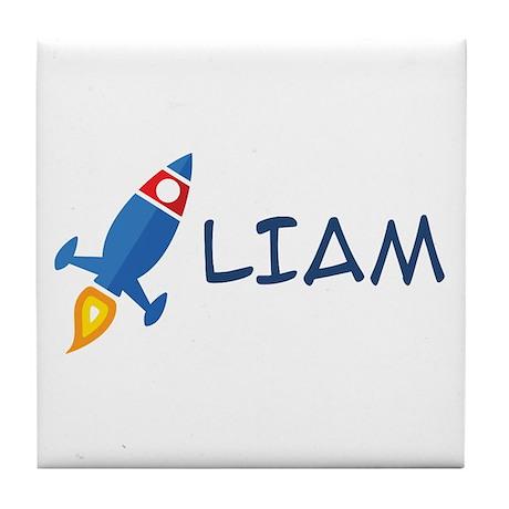 Liam Rocket Ship Tile Coaster