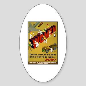 Women Power Now Poster Art Oval Sticker