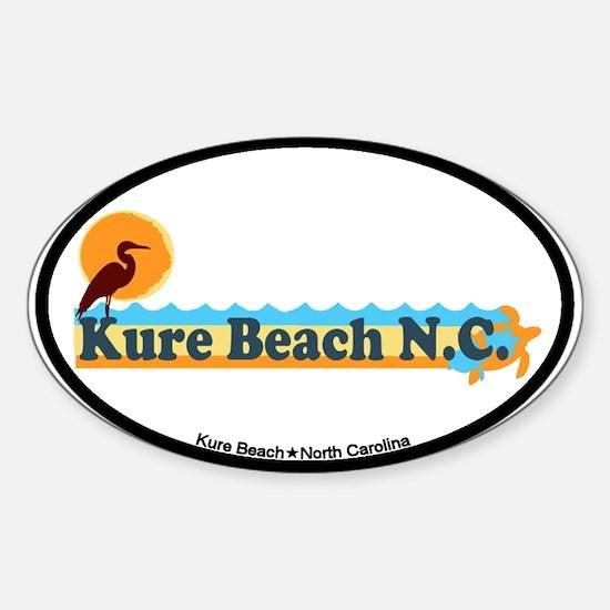 Kure Beach NC - Beach Design Sticker (Oval)