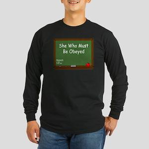 Teacher Chalkboard Long Sleeve Dark T-Shirt