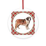 Saint Bernard Christmas Ornament (Round)