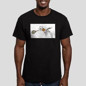 Tennis Cat Men's Fitted T-Shirt (dark)
