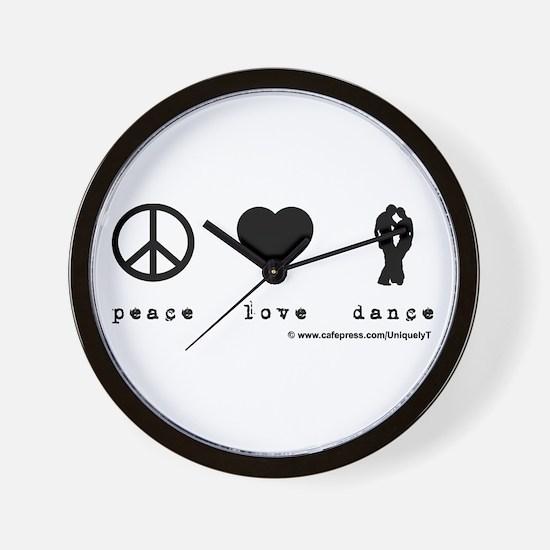 Peace, Love, Dance Wall Clock