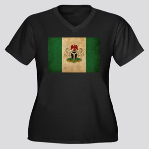 Vintage Nigeria Flag Women's Plus Size V-Neck Dark