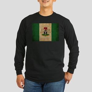 Vintage Nigeria Flag Long Sleeve Dark T-Shirt