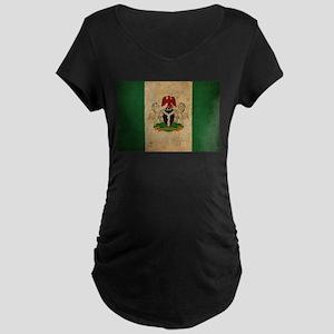 Vintage Nigeria Flag Maternity Dark T-Shirt