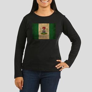 Vintage Nigeria Flag Women's Long Sleeve Dark T-Sh