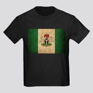 Vintage Nigeria Flag Kids Dark T-Shirt