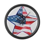 American Flag - Star Large Wall Clock