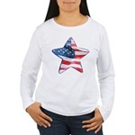 American Flag - Star Women's Long Sleeve T-Shirt