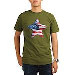 American Flag - Star Organic Men's T-Shirt (dark)