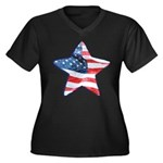 American Flag - Star Women's Plus Size V-Neck Dark