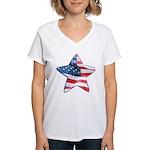 American Flag - Star Women's V-Neck T-Shirt