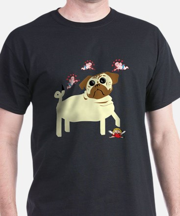 Down with Love Pug Black T-Shirt