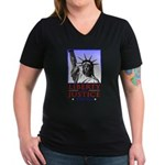 Liberty & Justice For All Women's V-Neck Dark T-Sh